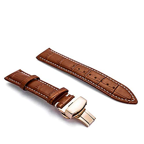 Los Hombres de la Correa de Cuero de 18 mm 20M 24mm22mm Reloj de Cuero de la Correa de Reloj de los Accesorios, marrón Claro RG Blanca, 20mm