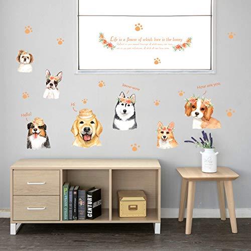 YCEOT Puppy Slaapkamer Woonkamer Kinderkamer Glazen Deur Koelkast Kast Decoratieve Muurstickers