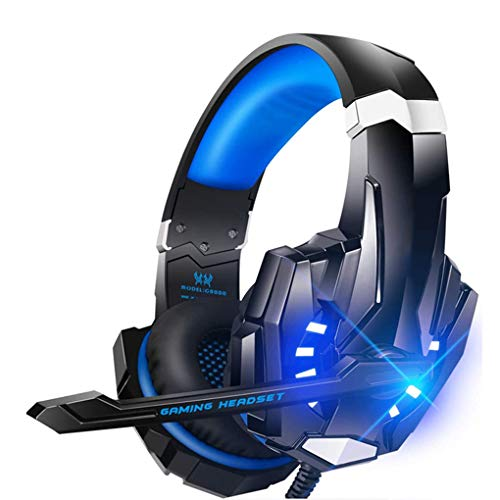 DXH Gaming Headset, Stereo Gaming Headset for PS4 PC with Noise Cancelling Mic Wired Headset Soft Memory Over Ear PS4 Headset with LED Light for Mac, Laptop,Blue
