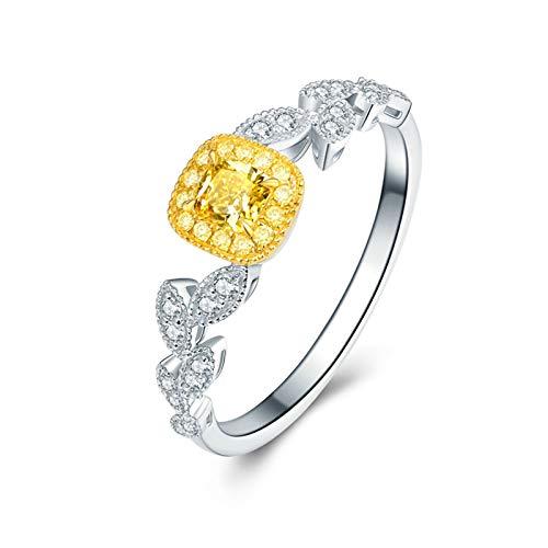 Daesar Anillo Oro Blanco 18K,Anillos Compromiso Mujer Plata Amarillo Cuadrada 0.2ct Diamante 0.15ct Anillo Talla 28