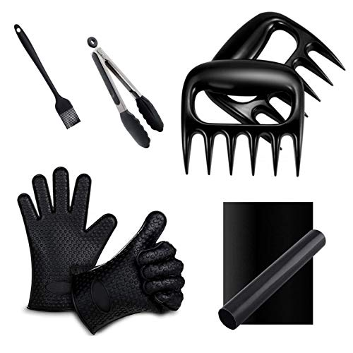 VM Ultimate Meat Shredder Claw 7pc Bundle Set Includes Two Meat Claws - Two Silicone Gloves - One Tong - One Brush - One Barbecue Grill Mat Tools Set