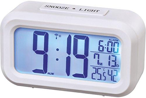 Hama Funk Wecker (zwei Weckzeiten, Snooze, sensorgesteuertes Nachtlicht, Temperatur- und Datumsanzeige) weiß