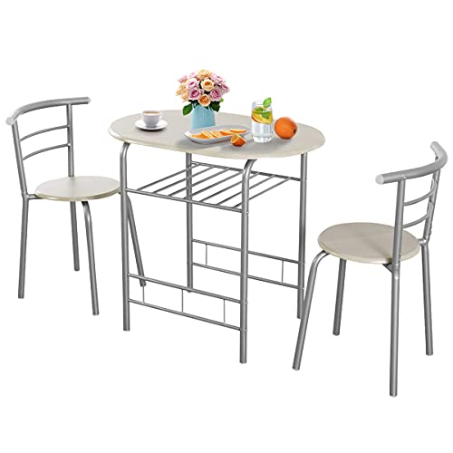 CASART Dining Table and Chairs, Compact 3 Piece Dining Set with Storage Shelf, Kitchen Breakfast Bar Set Bistro Table Chair for Small Space (Silver + Grey)