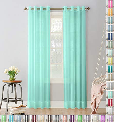 Megachest 2-lagiger Sichtschutz Vorhang mit ausgefallenem Design, tiffany blue, 56