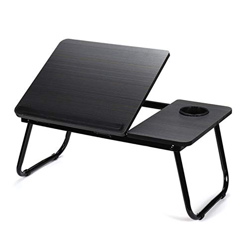 Foldable Adjustable Laptop Desk Computer Table Stand Tray Notebook Lap PC Non-slip Folding Bed Sofa Desk Table Lap Desks for Home Office (Color : Black)