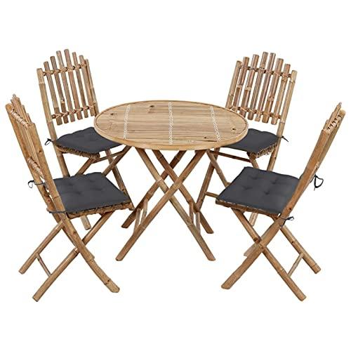 Festnight Juego de Comedor de Jardín Plegable con Cojines 5 Piezas Bambú, 1 Mesa, 4 Sillas con Cojín Gris Antracita