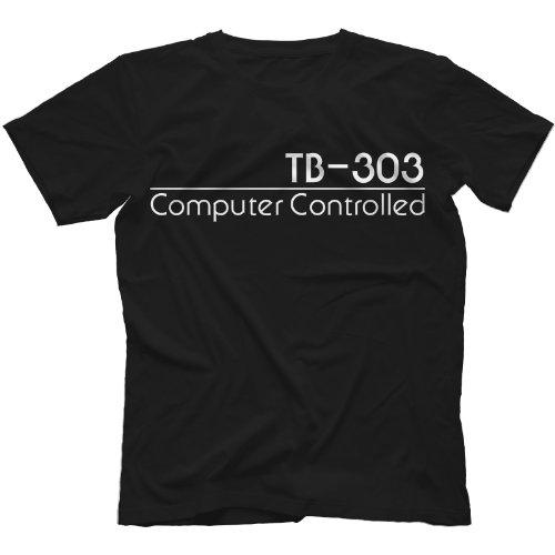 TB-303 Synthesiser T-Shirt 100% Cotton Acid, Black, Large