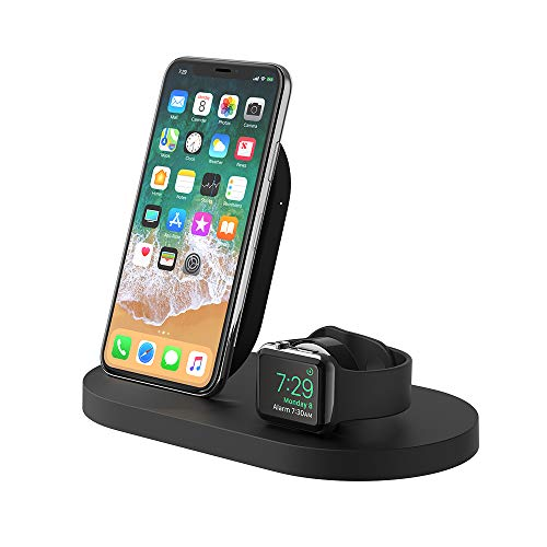 Belkin base de carga inalámbrica BoostUp con 1 puerto USB-A para iPhone + Apple Watch, iPhone 12, 12 Pro, 12 Pro Max, 12 mini y modelos anteriores además de Apple Watch SE, 6, 5, 4, 3, 2, 1 y Airpods