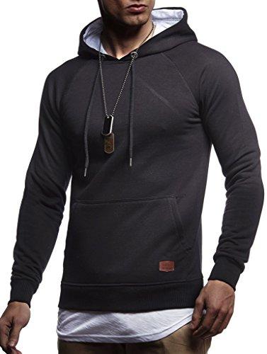 Leif Nelson Herren Kapuzenpullover Slim Fit Baumwolle-Anteil Moderner weißer Herren Hoodie-Sweatshirt-Pulli Langarm Herren schwarzer Pullover-Shirt mit Kapuze LN8125 Schwarz 2in1 X-Large