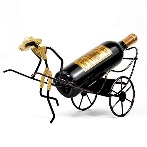 Soportes para las botellas de vino Estantería De Vino Metal Creativo Porta Botella De Vino Individual Decoración Hogareña Estilo Retro Diseño De Rickshaw Puesto De Vinos Encimera Independiente Vintage