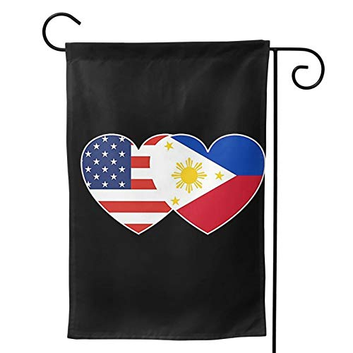 XIOJEIEY USA American Flag and Filipino Philippines Flag Garden Flag, Vertical Double Sided Garden Outdoor House Yard Decorations American Flag USA Garden Flags