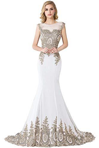 Babyonlinedress® Elegante Etuikleid mit Spitze Abendkleid Ärmellos Mermaid Brautjungfer Ballkleid Berühmtheitkleider lang Beige