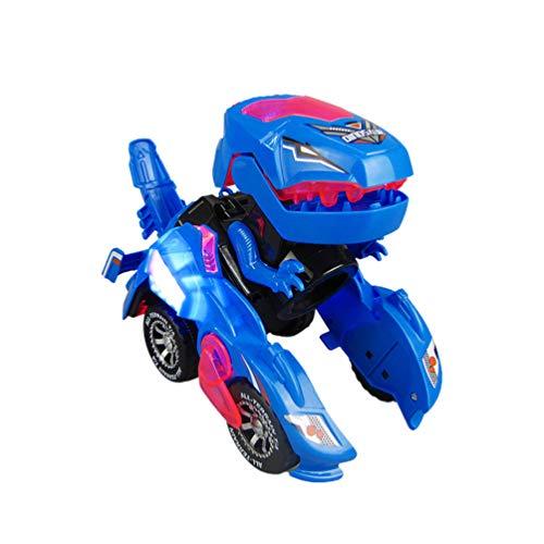 NUOBESTY Transformer Coche de Dinosaurio Led para Niños para Regalo De Cumpleaños Navidad Sin Batería(Azul)
