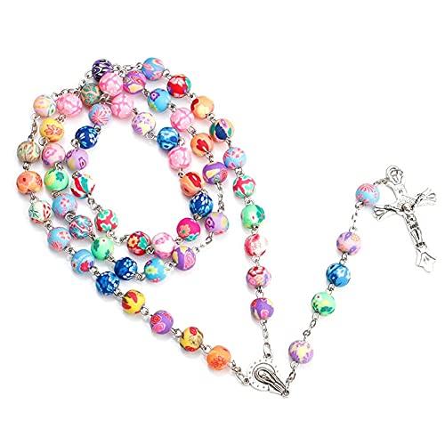 Kkoqmw Collar con Colgante de Cruz de Rosario de Cuentas de Arcilla polimérica de 8 mm, Regalo religioso católico