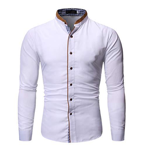 DNOQN Herren Mode Gestempelt Langarm Shirt Gedruckt Langarm Bluse Herren Freizeit Herbst Poloshirt T Shirt Lang Weiß S