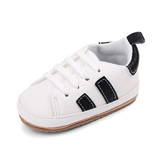 CHEERFUL MARIO Scarpine Primi Passi Neonato Casual Sneakers Scarpe da Ginnastica Prima Infanzia Pelle Morbida Antiscivolo Bianca/Nero 12-18 Mesi