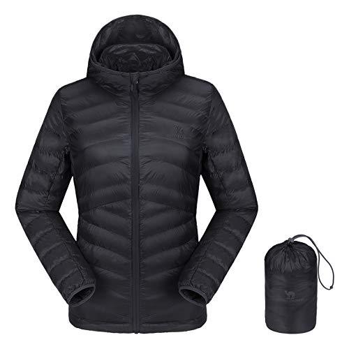 CAMEL CROWN Women's Lightweight Hooded Down Jacket Packable Puffer Insulated Coats M Black