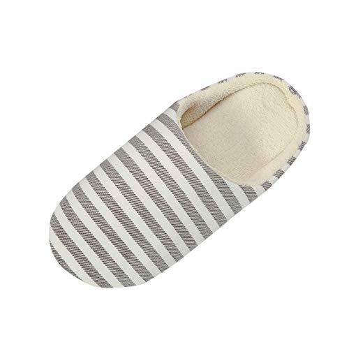 Alwayswin Frauen Männer Hausschuhe Warme Plüsch Hausschuhe Indoor rutschfeste Slippers Gestreifte Pantoffeln Winterhausschuhe