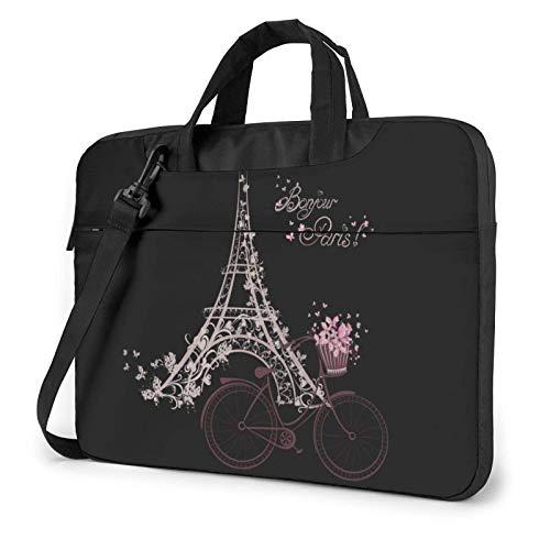 Laptop Shoulder Bag,Tower and Bicycle Flowers Shockproof Laptop Sleeve Cover Business Messenger Bag Briefcase Handbag Case 15.6 inch