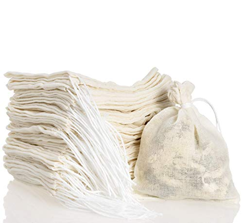 YASEO 50 PCS Muslin Drawstring Bags, Natural Unbleached Cotton Cheesecloth Bags for Spice, Tea, Herbs, Coffee Cooking Brewing Straining (3 x 4 inches)