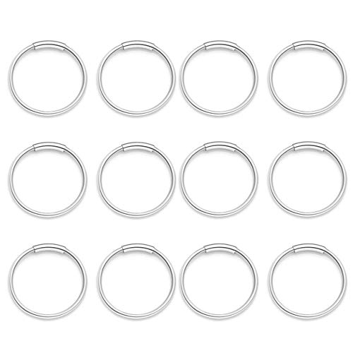 PiercingJ 12pcs Stainless Steel 20G 8mm 10mm Hinged Clicker Seamless Nose Hoop Rings Captive Ring for Nose Ear Helix Cartilage Tragus Daith Septum Eyebrow Lip Body Piercing Jewelry