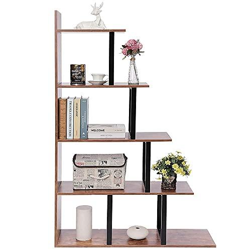 IWELL Ladder Shelf, 5-Tier Wood Bookshelf, Rustic Storage Shelf for Living Room, Bedroom, Home Office, Rustic Brown