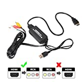 Cable HDMI a RCA,HDMI a AV 3RCA CVBs Video Compuesto Cable de Audio convertidor Compatible con PAL/NTSC para Fire Stick/Roku/Chromecast / PS4, DVD/HDTV/Laptop/Xbox Etc (Negro)