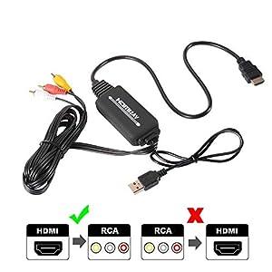 Cable HDMI a RCA,HDMI a AV 3RCA CVBs Video Compuesto Cable de Audio convertidor Compatible con PAL/NTSC para Fire Stick/Roku/Chromecast / PS4, DVD/HDTV/Laptop/Xbox Etc (Negro)