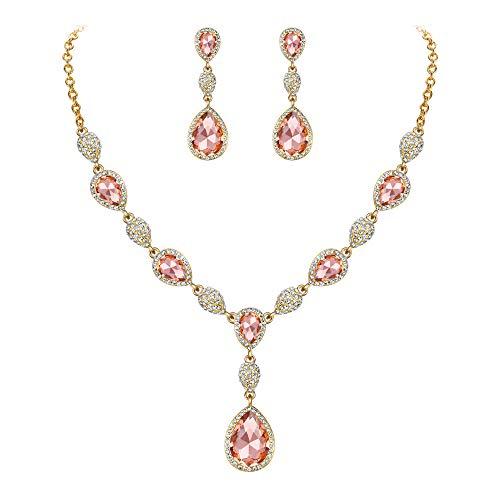 Clearine Juegos de Joyas de Mujer Cristales Forma Agua Gota Lágrimas Collar y Pendientes para Novia Boda Fiesta Elegante Color Champán