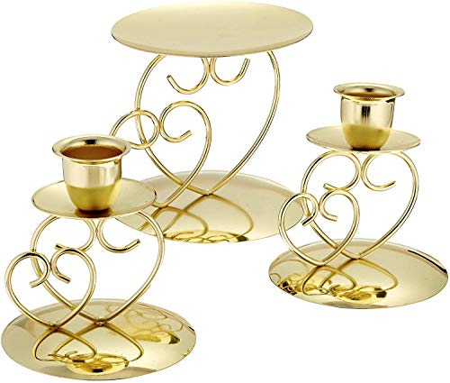 Darice VL26 Victoria Lynn Unity Candle Holder 3-Piece Set – Includes 2 Taper Candle Holders, 1 Pillar Candle Holder – Elegant Open Combined Hearts Design – Perfect for Wedding Ceremony, Gold