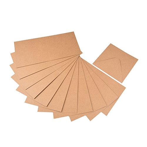 60tlg. Set Briefumschläge/Kuverts und Klappkarten aus Naturkarton, quadratisch, zum Selbstgestalten von Gruß- und Glückwunschkarten, Einladungskarten uvm.