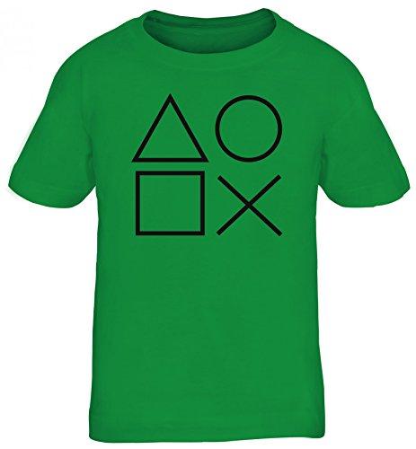 Geek Nerd Gamer Kinder T-Shirt Rundhals Mädchen Jungen Game Controller, Größe: 134/146,Kelly Green