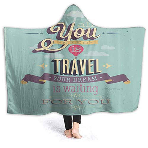 Great Features Of Vintage Decor Hooded Baby Blanket Kids Size Travel Dream Voyage Inspirational Moti...
