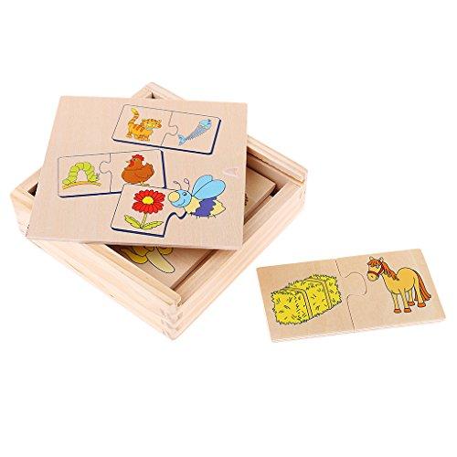 Baoblaze Juguete de Madera de Aprendizaje Educativo para Niños - Rompecabezas a Juego de Animales Y Alimentos