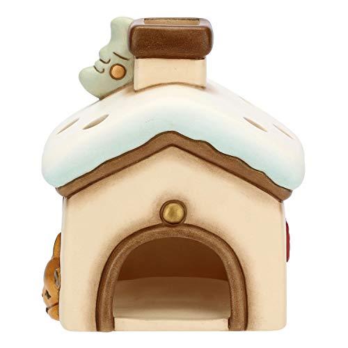 THUN ® - Porta Candela A Forma Di Casa - Linea Preludio D'Inverno - Ceramica - 13,7X10,5X10,5 Cm