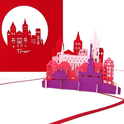 """Pop Up Karte """"Trier - Panorama mit Markt & Dom"""" - 3D Grußkarte als Souvenir, Geschenk, Geburtstagskarte, Einladungskarte & Gutschein zum Städtetrip"""