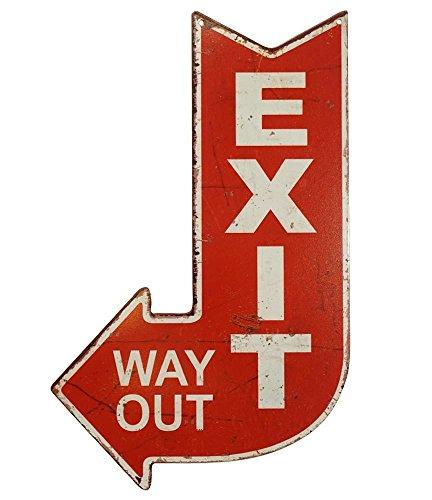 zeitzone Blechschild EXIT Way Out Dekoschild Wegweiser Nostalgie Vintage 40x25cm
