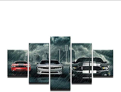NIUYHFU Wohnkultur Gedruckt Gemälde 5 Panel Ford Mustang Auto im Regen Bilder Wandkunst Leinwand Poster Moderne Schlafzimmer