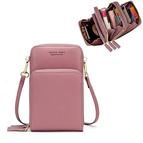 Dames handtassen schoudertas dames mobiele telefoontas schoudertas kunstleer schoudertas 3 ritssluitingen tas met veel vakken kaartenvak portemonnee portemonnee voor iPhone 5/6/7/8/X Plus ..