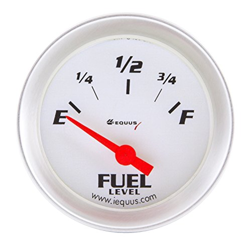 Equus 8362 2' Fuel Level Gauge, White with Aluminum Bezel