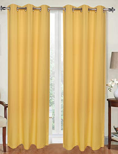 Urban Villa - Set of 2 - Solid Duck Fabric Curtains - 42x84 Inches- Yellow Color- Window Curtains with 6 Grommets Panel Set - Pre Washed-Elegant Look