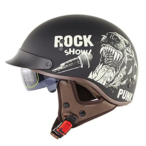 Casco de motocicleta para adultos, estilo retro abierto con visera solar para hombres y mujeres, certificación DOT/ECE de verano con estilo alemán, casco de ciclismo, scooter de motocross (color B: B)