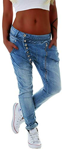 Mozzaar Damen Boyfriend Jeans Baggy Haremshose...