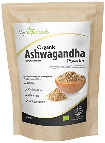 Organic Ashwagandha Root Powder by MySuperfoods, 200g, 100% Certified Organic Natural Non-GMO Gluten-Free