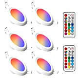 LED Recessed Lighting, 6 Pack 4 Inch LED Downlight Recessed Ceiling Light 10W 900 Lumens RGB & Warm White 2700K Dimmable by IR Remote Control, Dual Memory - Timer - 12 Color Choices - 2 Modes