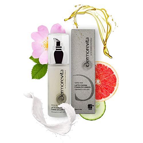 Sérum pour le visage Dermorevita avec lait d'ânesse biologique et bave d'escargot BIO, gel d'aloès BIO, huile de rose musquée, extrait de concombre BIO, jus de pamplemousse