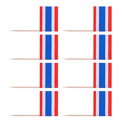 VALICLUD 100Pcs Thailand Flagge Zahnstocher Thailand Fahnen Cupcake Topper Mini Lebensmittel Wüste Obst Pick Sticks Flagge Cocktail Pick für Welt Tasse Land Sport Partei Liefert