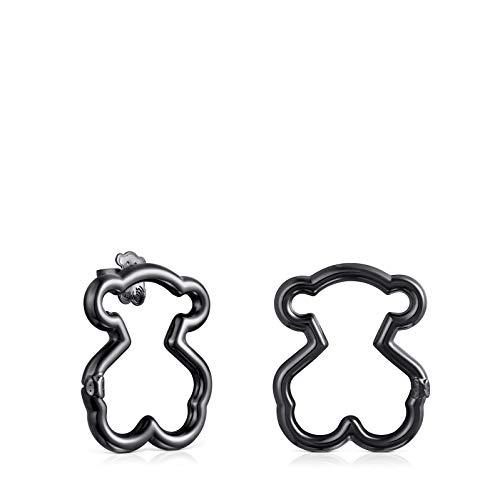 Dark Silver Hold Bear Earrings Medium