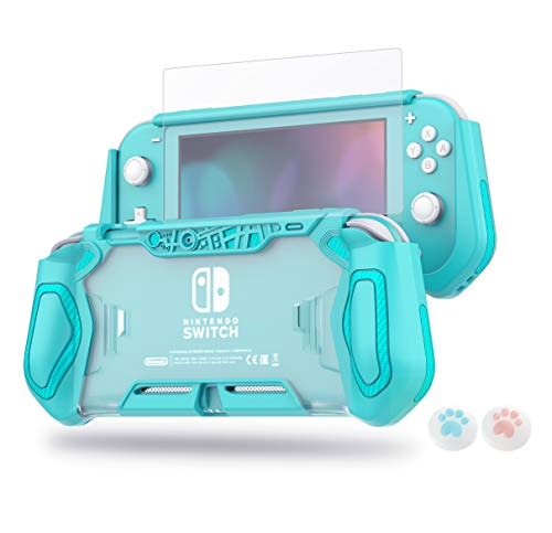 LeyuSmart Protector Case for Nintendo Switch Lite with HD Tempered Glass Screen Protector and Thumb Caps, Turquoise Color