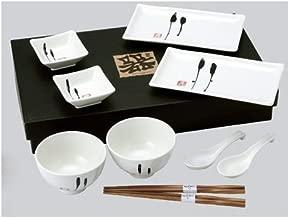 Happy Sales HSDS-WHT01, 10 Piece Japanese Dinnerware Set Enzo Design, White